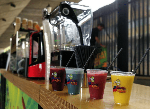 smoothie bar with branded products lined up