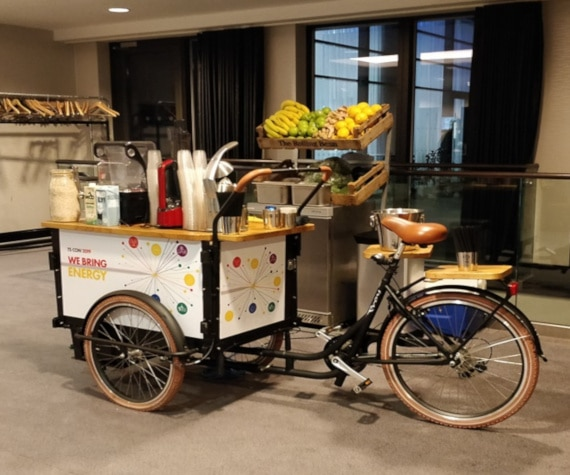 promotional smoothie bike on shop floor