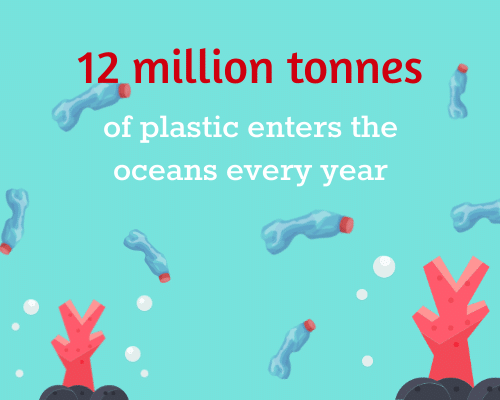 12 million tonnes of plastic waste in the ocean every year